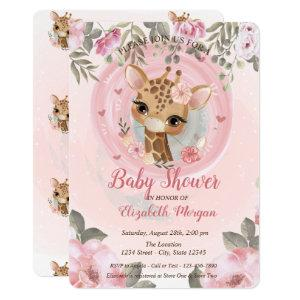 Cute Baby Giraffe Floral Baby Shower Invitation