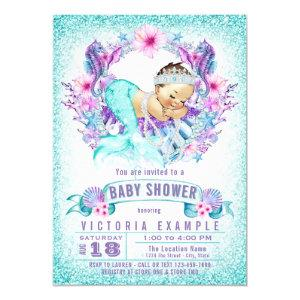 Cute Baby Mermaid Baby Shower Invitation
