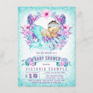 Cute Baby Mermaid Baby Shower Invitations