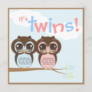 Cute Baby Owls Twins Baby Shower Invitation