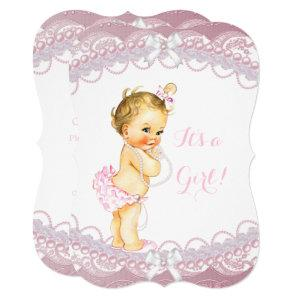 Cute Baby Shower Girl Pink Pearls Lace Blonde Invitation