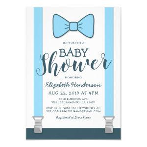 Cute Blue Bow Tie Baby Shower Invitation