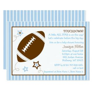 Cute Blue Football Baby Shower Invitation