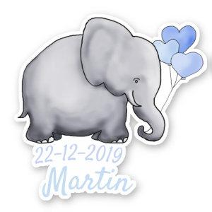 Cute Blue Heart Balloons Baby Shower Boy Elephants Sticker