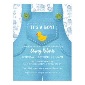 Cute Blue Overalls and Duck Baby Shower Invitation Postcard
