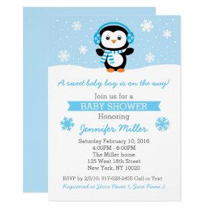Cute Blue Penguin Baby Shower Invitation