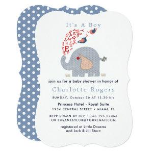 Cute Blue Red Alphabet Elephant Baby Boy Shower Invitation