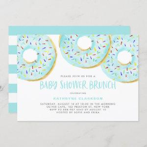 Cute Blue Watercolor Donuts Baby Shower Brunch Invitation
