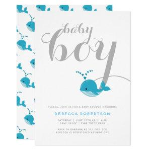 Cute blue whale typography baby boy shower invitation