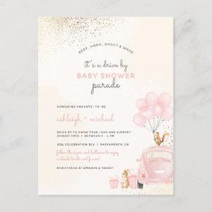 Cute Blush Pink Balloons Car Drive By Baby Shower Invitation Postcard