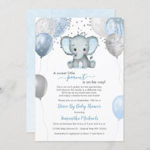 Cute Boy Elephant Balloons Drive By Baby Shower Invitation