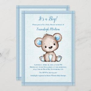 Cute Brown Bear For Boy Baby Shower Invitation