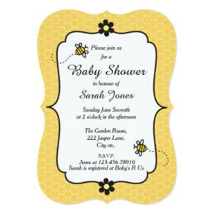 Cute Bumble Bee Theme Baby Shower Invitation