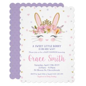 Cute Bunny Baby Shower Invitation Girl Purple