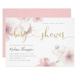 Cute Cherry Blossom Gold Script Floral Baby Shower Invitation