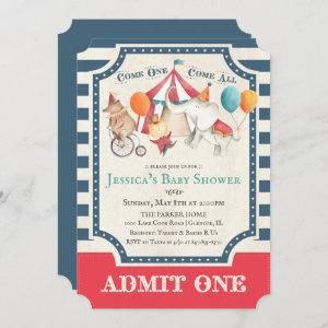 Cute Circus Carnival Baby Shower Invitation