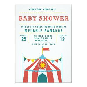 Cute Circus Theme Baby Shower Party Invitation