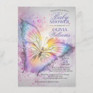 Cute Colorful Watercolor Butterfly Baby Shower Invitation