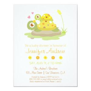 Cute Colourful Turtle Baby Shower Invitations