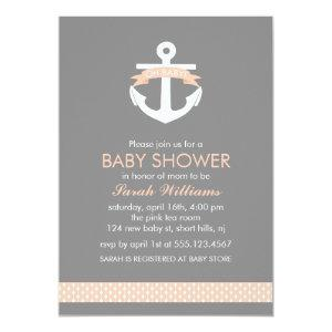 Cute Coral Anchor Nautical Theme Baby Shower Invitation
