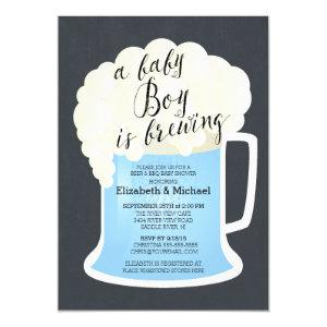 Cute Couples Boys Baby Shower Baby Brewing Invitation