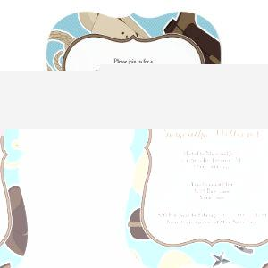 Cute Cowboy Theme Baby Shower Invite Blue Brown
