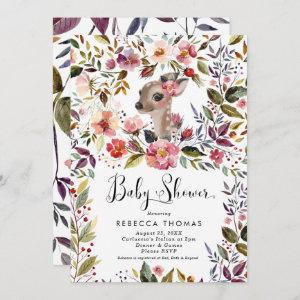 cute deer and florals baby shower invitation