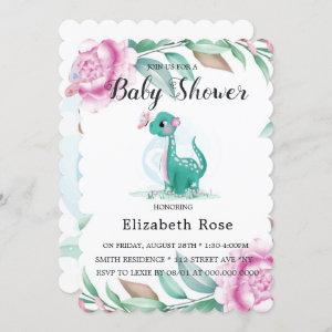 Cute Dinosaur With Pink Peony Baby Girl Shower