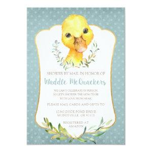 Cute Duck Baby Shower by Mail Invitation