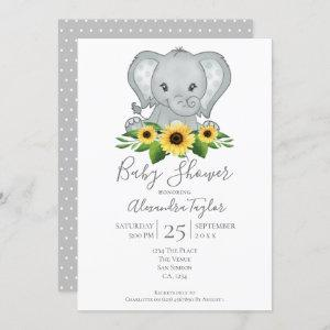 Cute Elephant Baby Shower Personalized Invitation