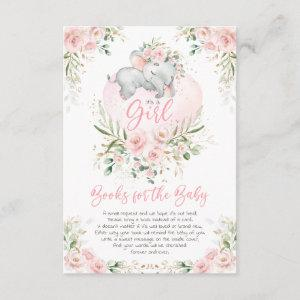 Cute Elephant Blush Gold Floral Books for Baby Enclosure Card