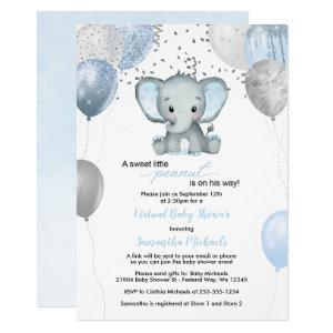 Cute Elephant Boy Balloons Virtual Baby Shower Invitation