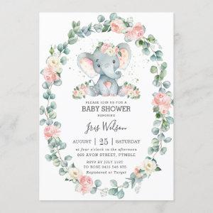 Cute Elephant Floral Greenery Baby Shower Girl Invitation