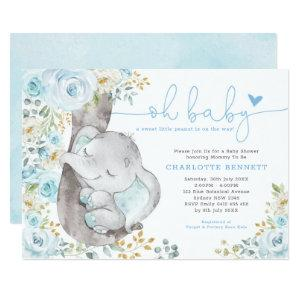 Cute Elephant Soft Blue Floral Boy Baby Shower Invitation
