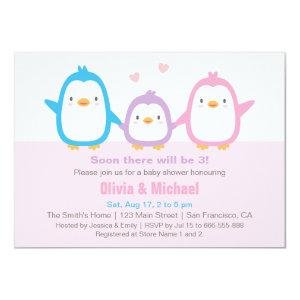 Cute Family Penguin Baby Shower Invitations