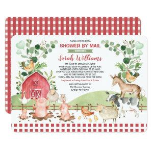 Cute Farm Barnyard Animals Baby Shower By Mail Invitation