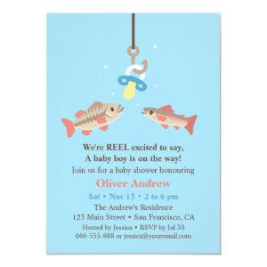 Cute Fish Bait Bass and Trout Fishing Baby Shower Invitation