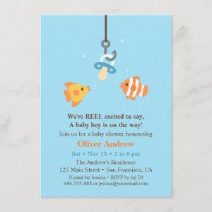 Cute Fish Bait Fishing Baby Shower Invitations