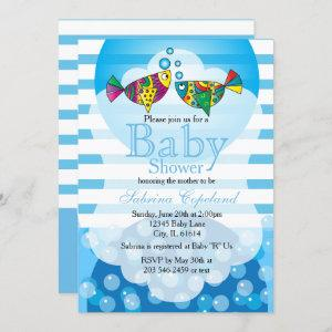 Cute Fishy Bubbles Baby Shower Theme Invitation