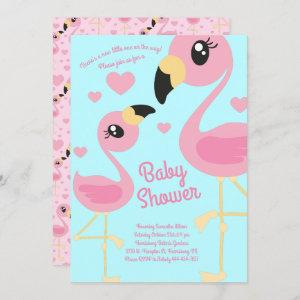 Cute Flamingo Baby Shower Tropical Beach Pink Girl Invitation