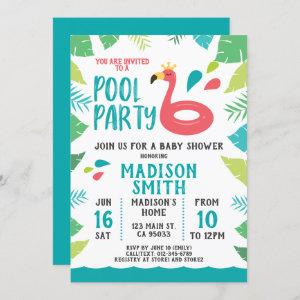 Cute Flamingo Tropical  Pool Party Baby Shower Invitation