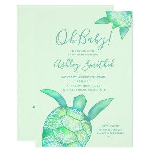 Cute floral turtle summer watercolor baby shower invitation