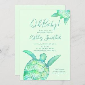 Cute floral turtle summer watercolor baby shower