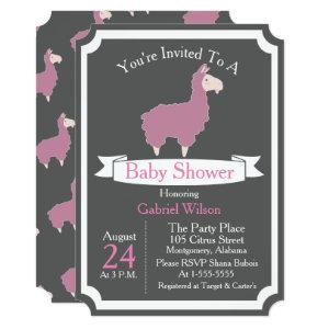 Cute Funny Pink Llama Baby Girl Baby Shower Invitation