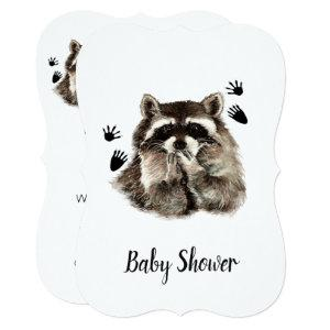 Cute Funny Raccoon Garden Animal Baby Shower Invitation