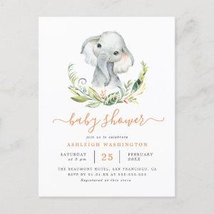 Cute Gender Neutral Elephant Baby Shower Invitation Postcard
