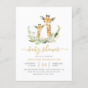 Cute Gender Neutral Giraffe Themed Baby Shower Invitation Postcard