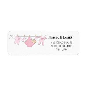 Cute Girl Pink Baby Shower Address Label
