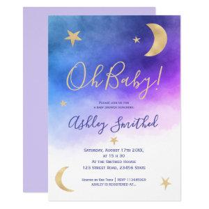 Cute gold moon stars pink watercolor baby shower invitation