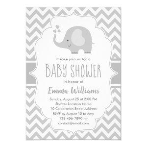 Cute Gray White Elephant | Neutral Baby Shower Invitation